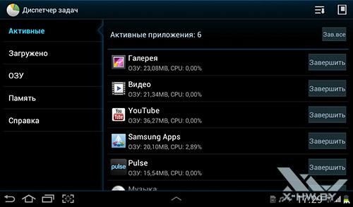 Диспетчер задач на Samsung Galaxy Tab 2 7.0. Рис. 1