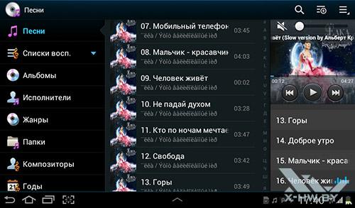 Аудиоплеер на Samsung Galaxy Tab 2 7.0. Рис. 1