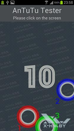 Число касаний, поддерживаемых экраном Samsung Galaxy S III