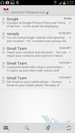 Почтовый клиент Gmail на Samsung Galaxy S III. Рис. 2