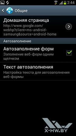 Настройки браузера на Samsung Galaxy S III. Рис. 4