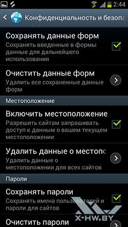 Настройки браузера на Samsung Galaxy S III. Рис. 5