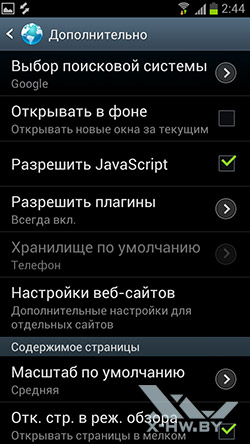 Настройки браузера на Samsung Galaxy S III. Рис. 7