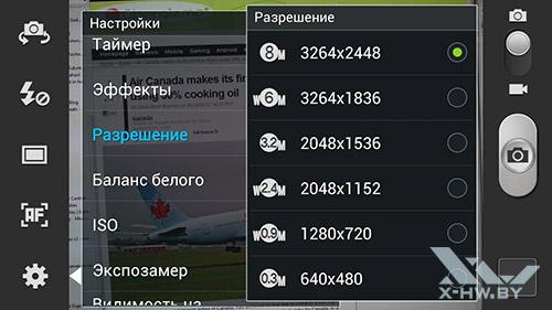 Разрешение камеры Samsung Galaxy S III
