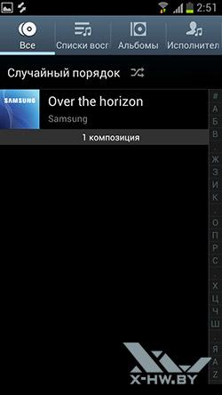 Музыкальный плеер на Samsung Galaxy S III. Рис. 1
