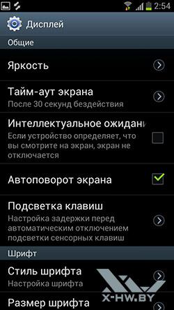 Настройки дисплея Samsung Galaxy S III. Рис. 1