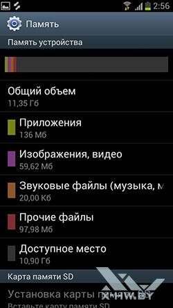 Настройки памяти Samsung Galaxy S III