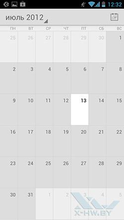 Календарь на Huawei Ascend P1. Рис. 1