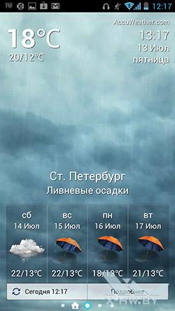 Приложение погоды на Huawei Ascend P1. Рис. 1
