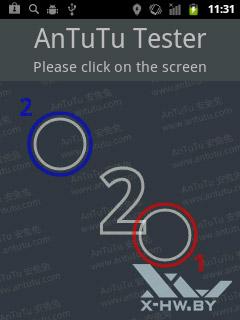 Число касаний, распознаваемых экраном Huawei Ascend Y100