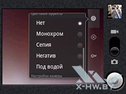 Цветовые эффекты камеры Huawei Ascend Y100