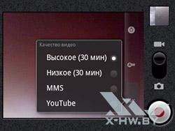 Разрешение съемки видео камерой Huawei Ascend Y100