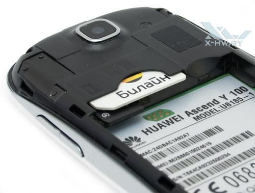 Отсеки для SIM-карты и карты microSD у Huawei Ascend Y100