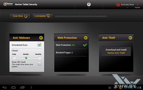 Антивирус Norton Tablet Security на Fujitsu STYLISTIC M532. Рис. 2