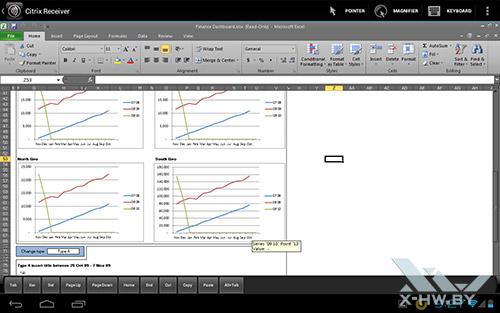 Работа с Excel через Citrix на Fujitsu STYLISTIC M532. Рис. 3