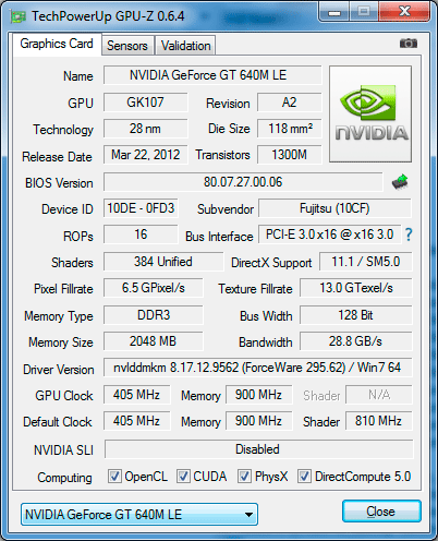 Видеокарта Fujitsu LIFEBOOK NH532