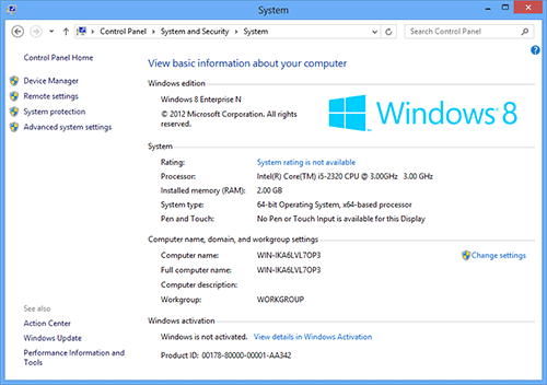 Информация о Windows 8