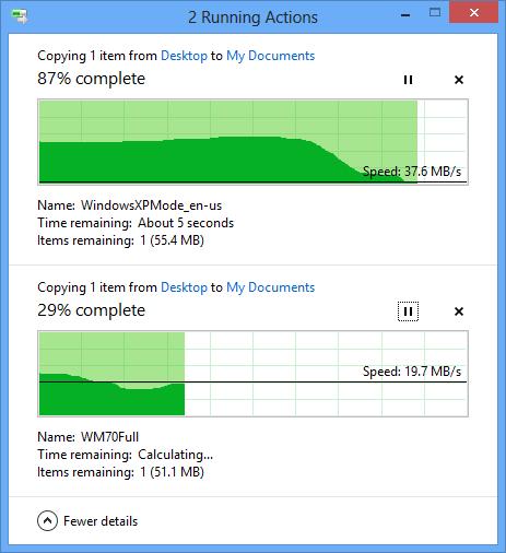 Окно копирования в Windows 8. Рис. 2