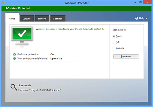 Windows Defender в Windows 8
