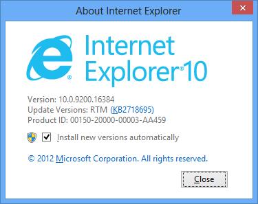 Информация об Internet Explorer 10