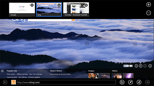 Metro-версия Internet Explorer 10. Рис. 2