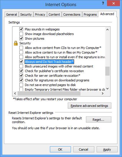 Параметры Internet Explorer 10