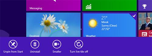 Панель опций для приложений Windows 8