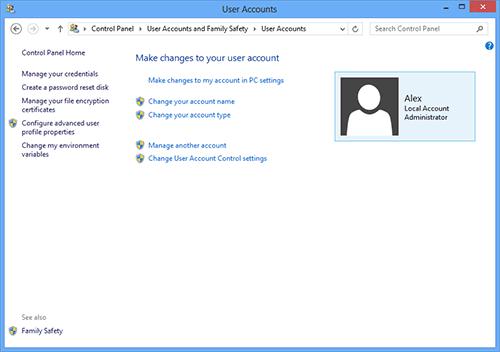 Настройка пользователей в Windows 8