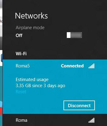 Расход трафика через Wi-Fi в Windows 8. Рис. 1