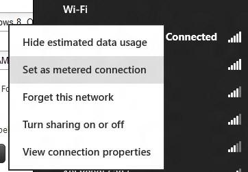 Расход трафика через Wi-Fi в Windows 8. Рис. 2