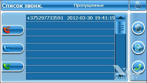 Список пропущенных звонков Lexand SU-533