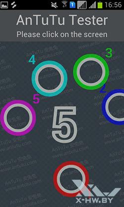 Число касаний, поддерживаемых экраном Samsung Galaxy S Duos