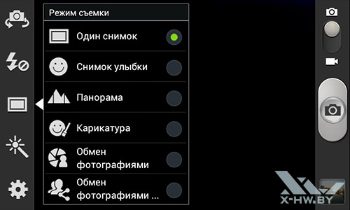 Режимы съемки камерой Samsung Galaxy S Duos