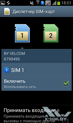 Параметры SIM-карт на Samsung Galaxy S Duos. Рис. 1