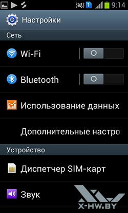 Настройки Samsung Galaxy S Duos. Рис. 1