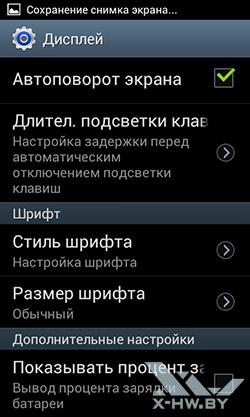 Настройки экрана на Samsung Galaxy S Duos. Рис. 2