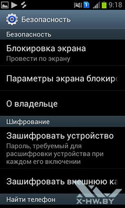 Настройки безопасности на Samsung Galaxy S Duos. Рис. 1