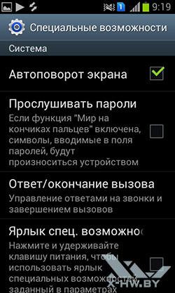 Специальные возможности на Samsung Galaxy S Duos. Рис. 1