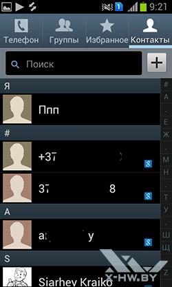 Контакты на Samsung Galaxy S Duos. Рис. 1