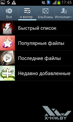 Музыкальный плеер на Samsung Galaxy S Duos. Рис. 2