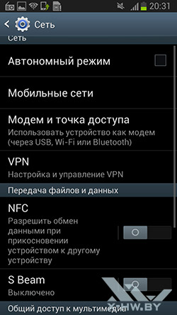 Параметры сети Samsung Galaxy Premier. Рис. 1