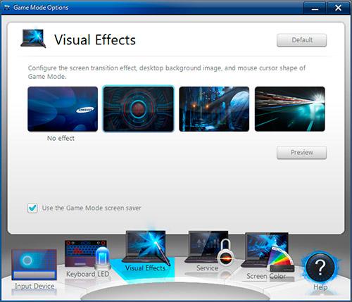 Game Mode Options на Samsung Gamer 700G7A. Рис. 3