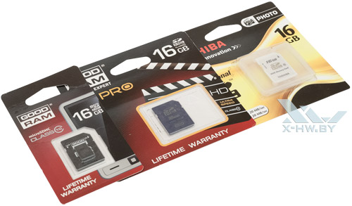 Карты памяти GOODRAM SDHC, GOODRAM microSDHC, Toshiba SDHC 16 Гбайт в упаковке