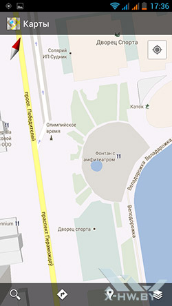 Google Maps на Highscreen Alpha GTR. Рис. 1