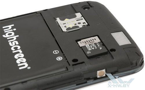 Разъемы для microSIM и microSD на Highscreen Explosion