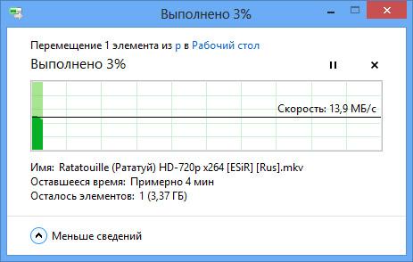 Окно копирования файла в Windows RT