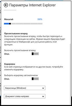 Параметры Metro-версии Internet Explorer 10 в Windows RT. Рис. 2