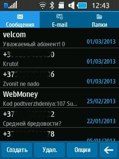 SMS-сообщения на Samsung Rex 70. Рис. 2