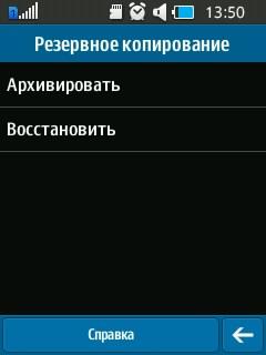 Параметры резервного копирования Samsung Rex 70. Рис. 1
