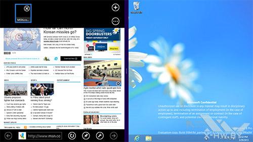Разделение экрана Snap в Windows Blue. Рис. 1